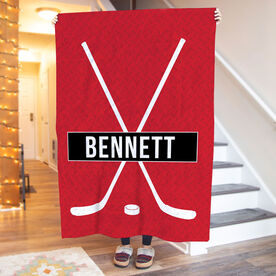Hockey Premium Blanket - Personalized Crossed Sticks With Stripe