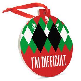 Skiing Round Ceramic Ornament - I'm Difficult