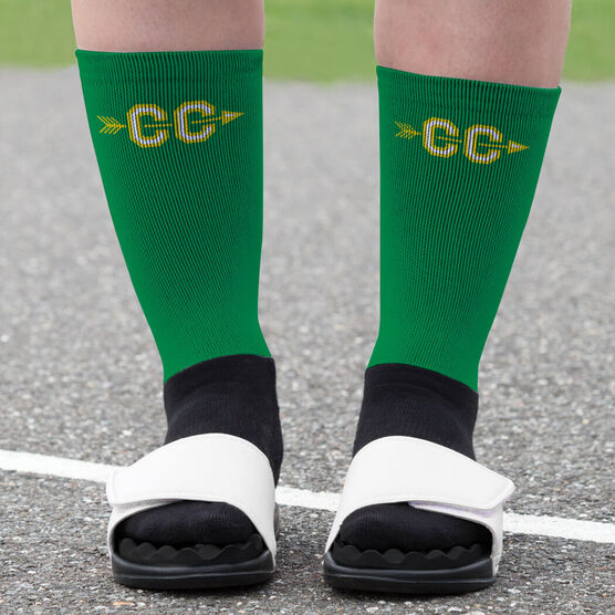 Cross Country Printed Mid-Calf Socks - With Arrows