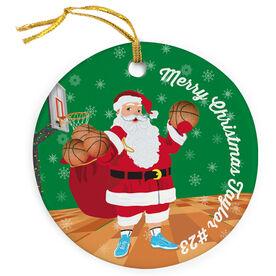 Basketball Porcelain Ornament Santa