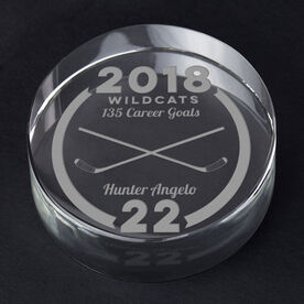 Hockey Personalized Engraved Crystal Puck - Custom Team Award