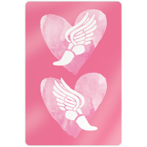 """Track & Field 18"""" X 12"""" Aluminum Room Sign - Watercolor Heart Winged Foot"""