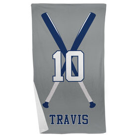 Baseball Beach Towel Personalized Player with Crossed Bats