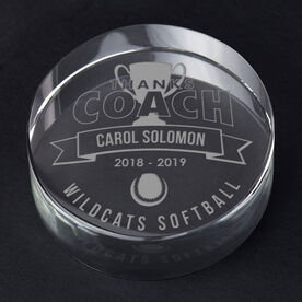 Softball Personalized Engraved Crystal Gift - Thanks Coach Banner
