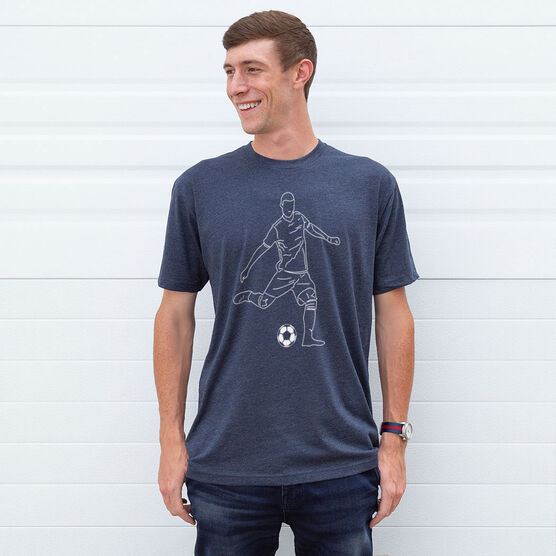 Soccer Short Sleeve T-Shirt - Soccer Guy Player Sketch