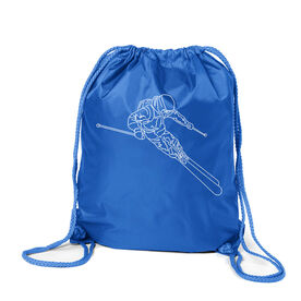 Skiing Sport Pack Cinch Sack - Skier Sketch