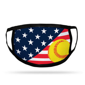 Softball Adult Face Mask - USA Flag