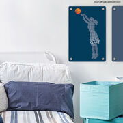 """Basketball 18"""" X 12"""" Aluminum Room Sign - Personalized Words Girl"""