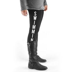Swimming High Print Leggings - Swimming Word