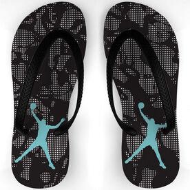 Basketball Flip Flops Oil Slick Pattern
