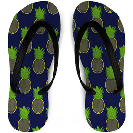 Tennis Flip Flops Preppy Pineapples