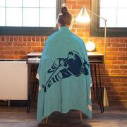 Hockey Premium Blanket - Hockey Girl Silhouette