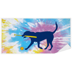 Softball Premium Beach Towel - Mitts the Softball Dog Tie-Dye