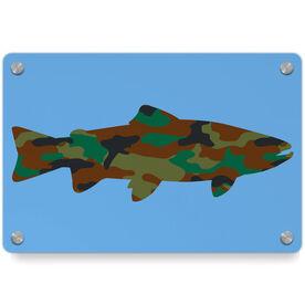 Fly Fishing Metal Wall Art Panel - Camo Fish