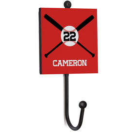 Baseball Medal Hook - Baseball Crossed Bats With Name and Number