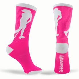 Field Hockey Woven Mid-Calf Socks - Player (Pink/White)