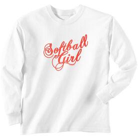 Softball Tshirt Long Sleeve Softball Girl Script