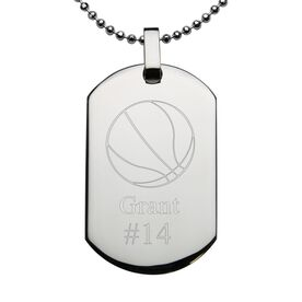 Basketball Engraved Stainless Steel Dog Tag Necklace
