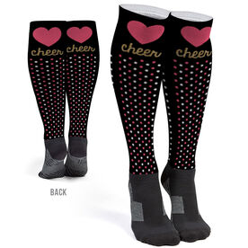 Cheerleading Printed Knee-High Socks - Cheer Heart With Dots