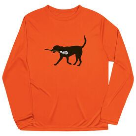 Guys Lacrosse Long Sleeve Performance Tee - Max The Lax Dog