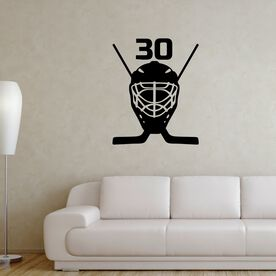 Personalized Hockey Goalie Mask Removable ChalkTalkGraphix Wall Decal