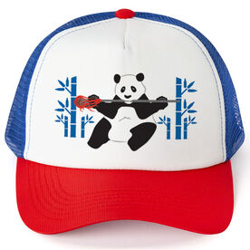 Guys Lacrosse Trucker Hat Panda Loves Lax