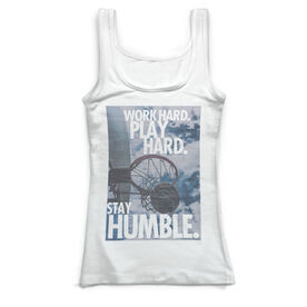 Basketball Vintage Fitted Tank Top - Work Hard Play Hard Stay Humble