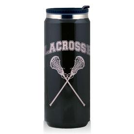 Stainless Steel Travel Mug Lacrosse Girls Crossed Sticks
