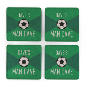 Soccer Stone Coasters Set of Four - Man Cave