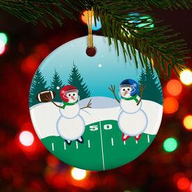 Football Porcelain Ornament Go For The Pass Snowman