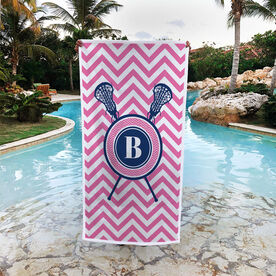 Girls Lacrosse Premium Beach Towel - Single Letter Monogram with Crossed Sticks and Chevron