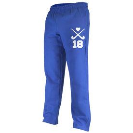Field Hockey Fleece Sweatpants Field Hockey Crossed Sticks with Heart and Number