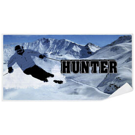Skiing Premium Beach Towel - Personalized Silhouette