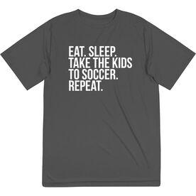 Soccer Short Sleeve Tech Tee - Eat Sleep Take The Kids To Soccer