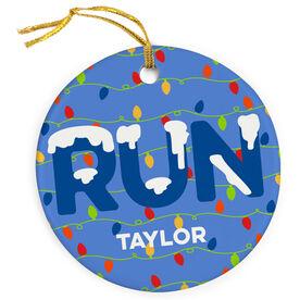 Running Porcelain Ornament RUN Christmas Lights
