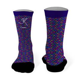 Girls Lacrosse Printed Mid Calf Socks Personalized Lax Lax Lax with Female Lacrosse Stick Figure