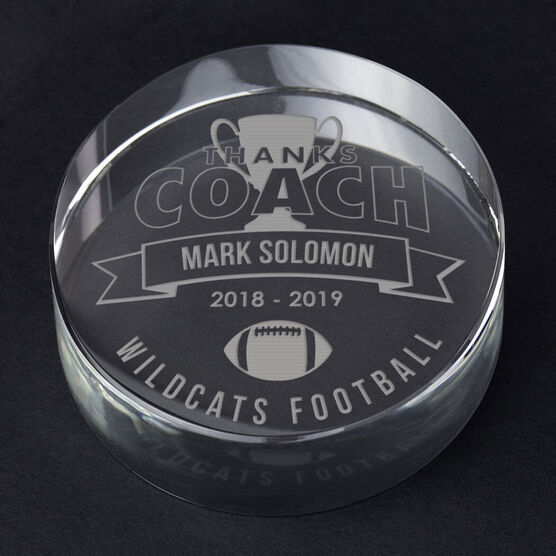 Football Personalized Engraved Crystal Gift - Thanks Coach Banner