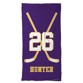 Hockey Beach Towel Personalized Player Crossed Sticks