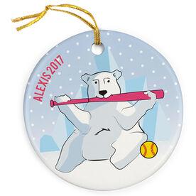 Softball Porcelain Ornament Polar Bear Batter