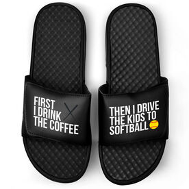 Softball Black Slide Sandals - First I Drink The Coffee