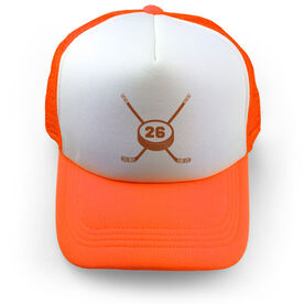 Hockey Trucker Hat Crossed Sticks Your Number