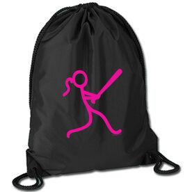Softball Sport Pack Cinch Sack Stick Figure Batter
