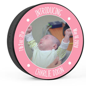 Personalized Hockey Puck - Baby Girl Introduction