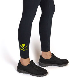 Hockey Leggings Sticks with Puck and Heart