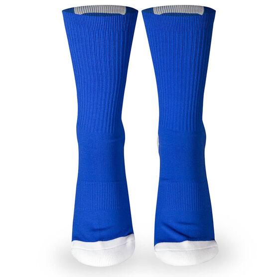 Team Number Woven Mid-Calf Socks - Blue