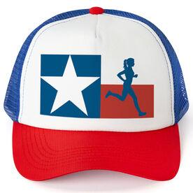 Running Trucker Hat - Texas Flag Female Runner