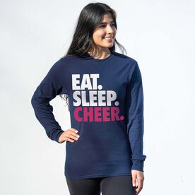 Cheerleading Tshirt Long Sleeve - Eat. Sleep. Cheer