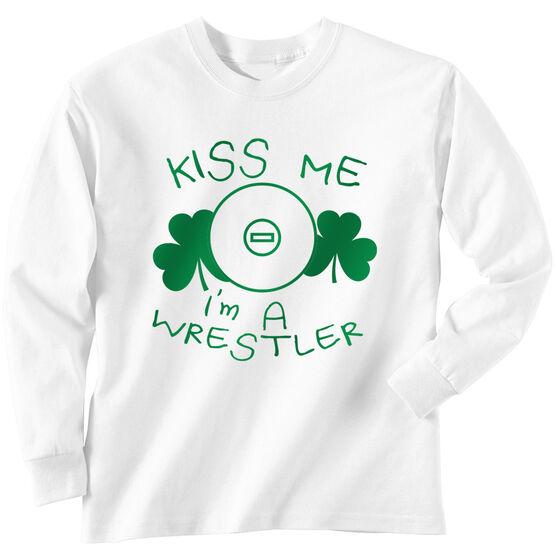 Wrestling Tshirt Long Sleeve Kiss Me I'm A Wrestler