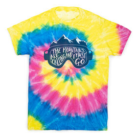 Skiing & Snowboarding Short Sleeve T-Shirt - The Mountains Are Calling Tie Dye