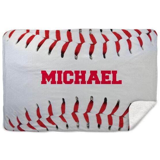 Baseball Sherpa Fleece Blanket Personalized Stitches